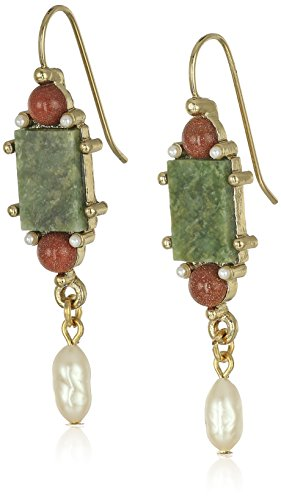 1928 Jewelry Gold-Tone Semi-Precious Aventurine Green Rectangle Pearl Drop Earrings