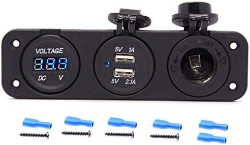 R Voltmeter +12 V Socket Panel Marine Outlet Jack SODIAL Triple 3.1 Amp USB Charger