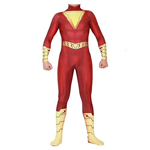 Shazam Captain William Billy Baston Cosplay Costumes Unisex Spandex Onesie 3D Zentai Suit Halloween Cosplay Bodysuit for Adult and Kids (Kids-XS) Red]()