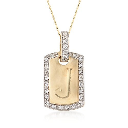 Ross-Simons 0.30 ct. t.w. Diamond Single Initial Id Tag Pendant Necklace in 14kt Yellow Gold ()