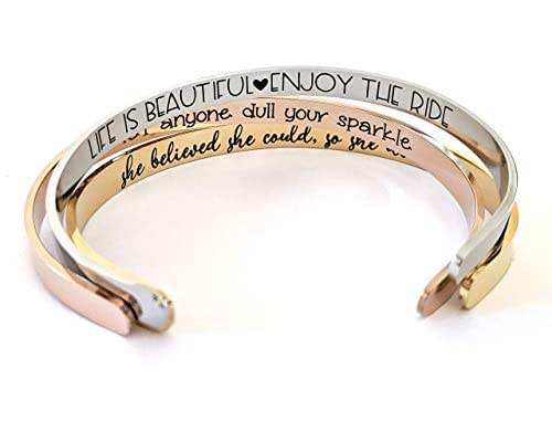 Minimalist engraved bracelet personalized quote wood cabochon  Custom woman gift  inspirant jewelry