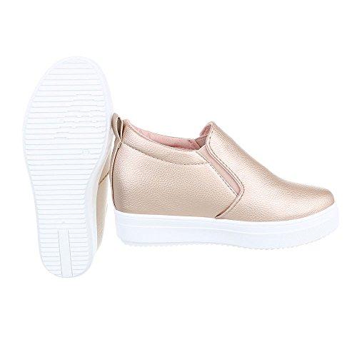 Ital-Design - Zapatillas de casa Mujer Rosa Gold 6689-Y