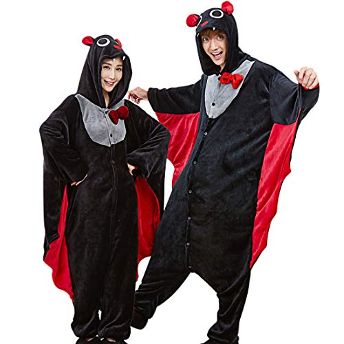 Unisex Adult Women Men Pajamas - Plush One-Piece Bat Animal Costumes Pajama  Onesies for b7fa53dff
