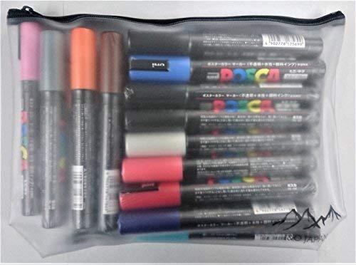 Uni Posca Paint Marker Pen, Medium Point(PC-5M), 24 Colors Set with Original Vinyl Pen Case by uni