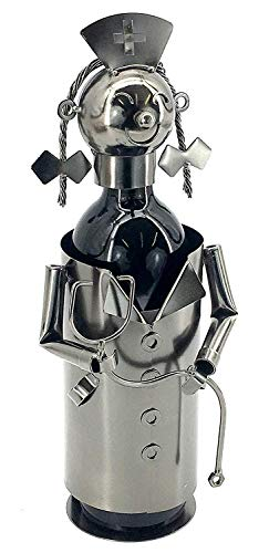 Bellaa 20836 Doctor Nurse Metal Wine Bottle