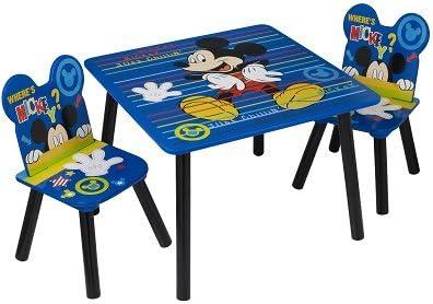 Azul Mickey Mouse mesa con sillas regalo para niños | Durable Disney niños mesa y sillas para niños (Kid s sala de juegos muebles 3 pc Set): Amazon.es: Hogar