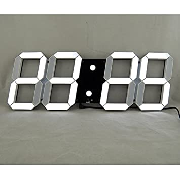 Bestland Große LED Uhr Digitale Wanduhr Fernbedienung Jumbo Großen Zahlen  3D Entwurf Wecker Mit Thermometer,