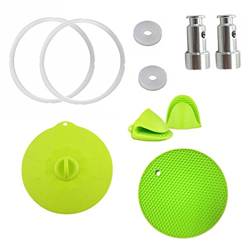 Set of 8)Pressure Cooker Pot Accessories Silicone Starter Kit - Pair of Mini Mitts, Pot Holder, Sealing Lid,2 Sealing Rings and 2 Universal Replacement Floater