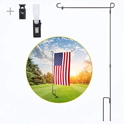 - yizen Garden Flag Stand, Yard Flag Holder Black Wrought Iron Flag Pole Holder with Anti-Wind Clip and Spring Stopper