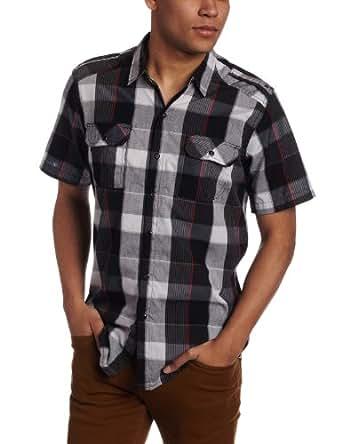 Burnside Men's Prize Woven Shirt, Black, Medium