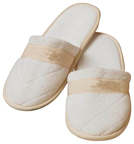"Quilted Velour Lightweight Closed Toe Women's Slipper Home or Travel 12""l x 4""w (White) Bravo"
