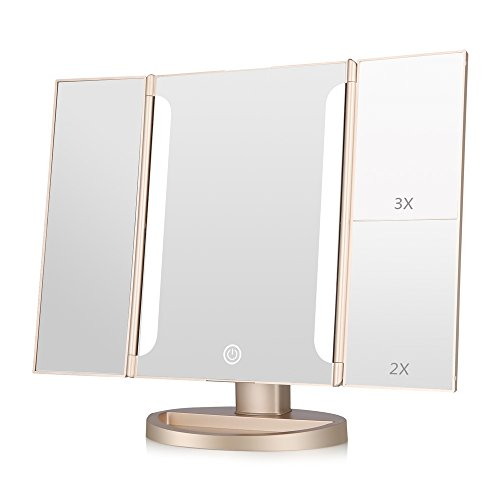 Easehold Lighted Makeup Mirror,2X 3X Magnifiers Vanity Mirror with Upgraded Eye-Caring Lights -