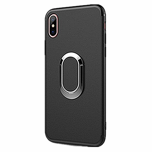 Iphone X Case With 360 Rotating Ring Grip Holder Stand Car Bracket Iphone Shell Ring Suction Matte Phone Case For Apple Iphone X 5 8  2017  Iphone X  Black