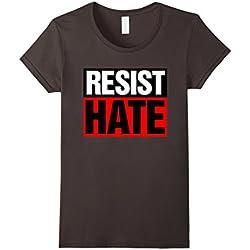 Women's Resist Hate Anti Trump Protest T-Shirt Medium Asphalt