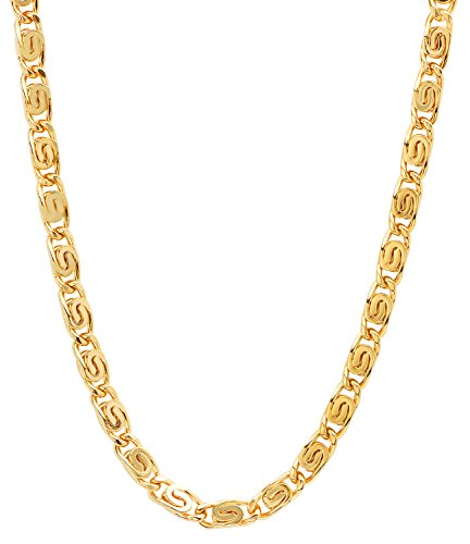 Venetian Link Chain (The Bling Factory 5.6mm 25 mills 14k Gold Plated Venetian Link Chain Necklace, 20 inches)