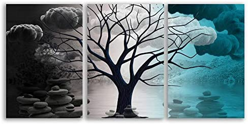 Abstract Cloud Tree Pictures Home Wall for Bedroom Living Room Oil Paintings Framed x 3 Panels