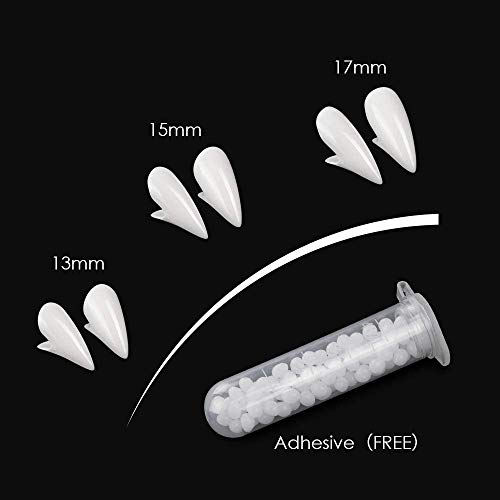 3 Pairs 3 Sizes Halloween Party Costume Cosplay Props White Horror False Teeth Party Favors Dress Up Accessories Weadiry Halloween Vampire Teeth Fangs with Adhesive