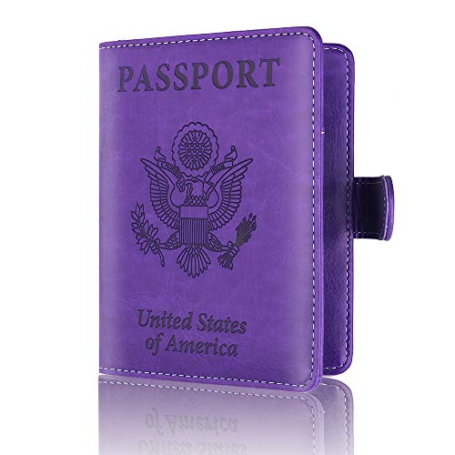 Passport Holder Leather Travel Wallet - RFID Blocking Passport Cover with Magnetic Closure for US Passport By Talent (Purple) ()
