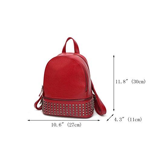 Sacs Pochettes Rouge Femme épaule portés portés bandoulière Cuir Vineux menotte Vineux Faux Cartable Sacs main Sacs Sacs Rouge DEERWORD 4vqnYxwdTT
