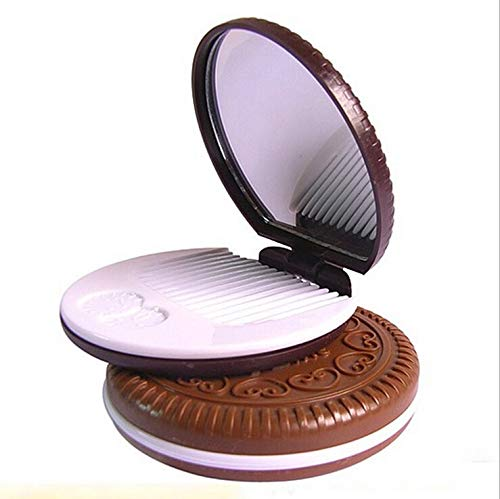 1 piece AddFavor Cocoa Cookies Mirror Makeup Mirrors with CombUnique Cheap Sandwich Chocolate Cosmetic Compact Mirrors Makeup Tools