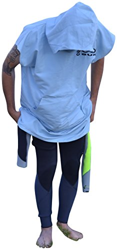 COR Board Racks Lightweight Hooded Swim Towel Poncho by Cor Surf | Lightweight Micro-Suede Travel Towel | Shakes off Sand and Dries Fast (Light Blue, Medium)