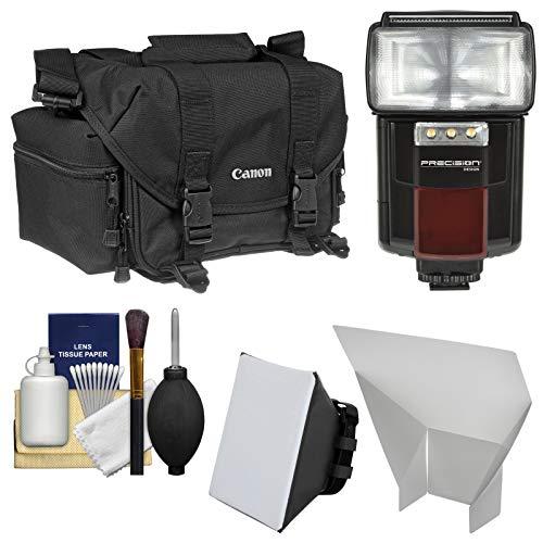 Canon 2400 Digital SLR Camera Case Gadget Bag + Flash + Soft Box + Reflector Kit for EOS 6D, 7D, 77D, 80D, 5D, Rebel T6, T6i, T6s, T7i, SL1, SL2 ()