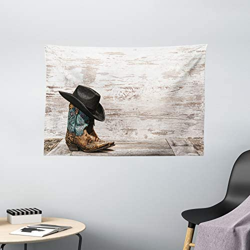 Ambesonne Western Tapestry, Traditional Rodeo Cowboy Hat and Cowgirl Boots Retro Grunge Background Art Photo, Wide Wall Hanging for Bedroom Living Room Dorm, 60 X 40 , Brown Black