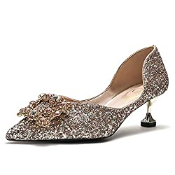 Women's Crystal Rhinestone Buckle Heel Shoes