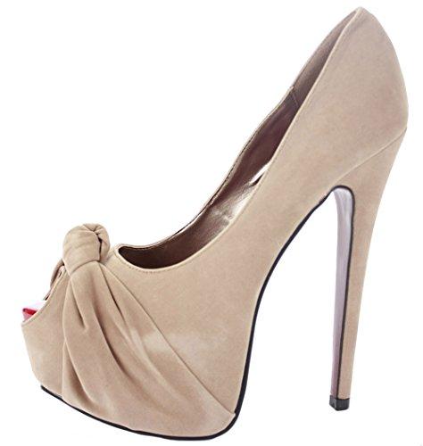 trabajo Boutique Court tacón Suede de de Tamaño para Faux damas Zapatillas Bolsa de Zapatos alto plataforma zapatoFashionista con Nude Peeptoe 5FZ1Pw