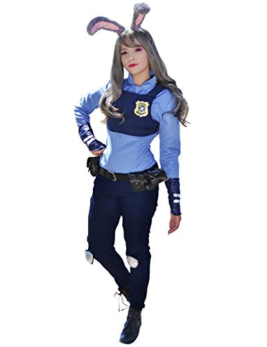DAZCOS US Size Rabbit Judy Hopps Cosplay Costume with Badge Ears Tail (Women Small) Blue]()