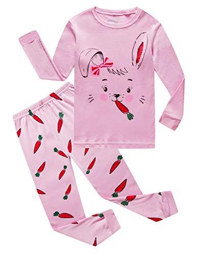 Big Boys Girls Rabbit Easter Pajamas 100% Cotton Pink Pjs Clothes for Kid 10 -