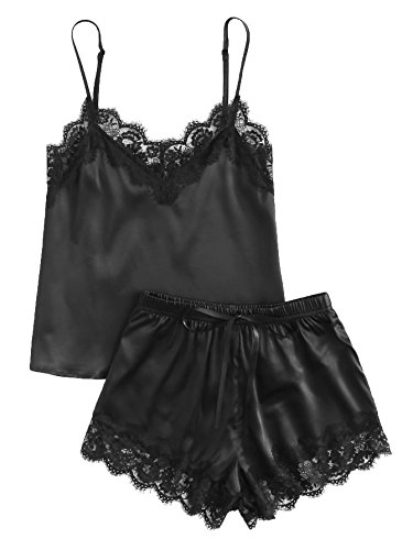MAKEMECHIC Women's Lace Satin Sleepwear Cami Top and Shorts Pajama Set Black M (Sleep Camisole Sexy)