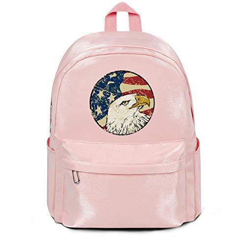 Womens Girl Bag Purse Retro Vintage American Flag Eagle Head Fashion Nylon Durable School Backpack Pink For Teens