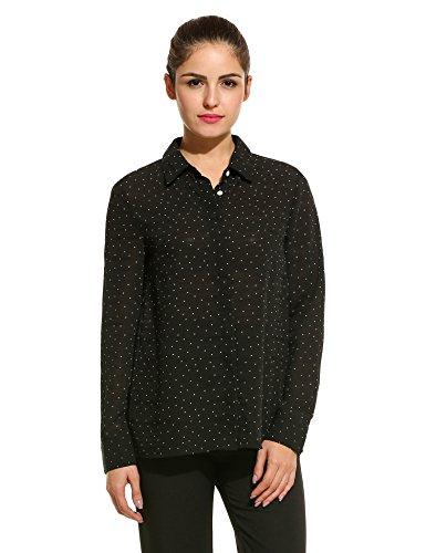 95f5d7af1f68eb Meaneor Damen Chiffon Bluse Hemdbluse Punkt Langarm mit Hemddkragen und Knopfleiste  Schwarz/Weiß: Amazon.de: Bekleidung