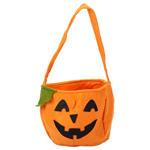 Jack-O-Lantern Orange Pumpkin 6 x 5.5 Inch Polyester Felt Halloween Candy Bucket Bag]()