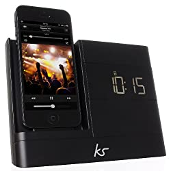 KitSound XDOCK2 Clock Radio Dock with Lightning Connector for iPhone 5/5S/5C, iPod Nano 7th Generation and iPod Touch 5th Generation - Black