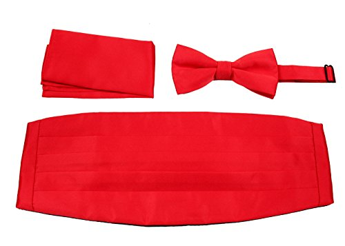 Set Cummerbund Red (CBUND-ADF-24 - Mens Formal Woven Satin Cummerbund Pre-Tied Bowtie Hanky set.)