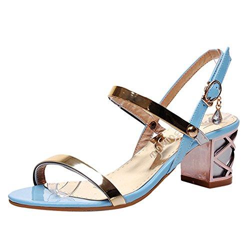 Sandales Bloc Blue Femmes Soiree JOJONUNU Talons yvRURS
