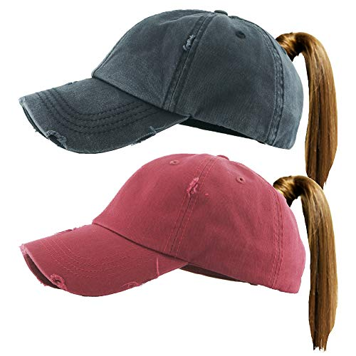 H-216-2-S0664 Distressed Ponycap 2-Pack: Solid Black & Burgundy