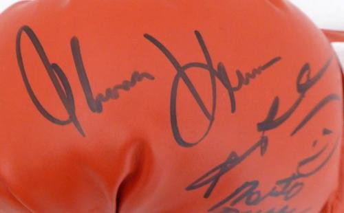 Boxing Greats Autographed Boxing Glove 3 Sigs Leonard Hearns Duran #7A91010 PSA/DNA Certified Autographed Boxing Gloves