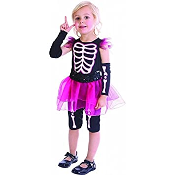 Disfraz esqueleto rosa niña - De 3 a 4 años