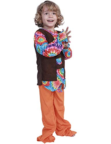 A&J DESIGN Toddler Boys Hippie Costume Peace Love Set (Orange, -