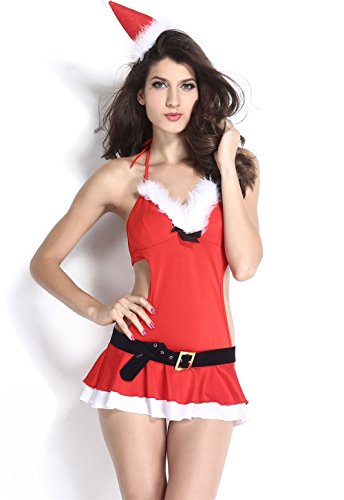 FiveFour Women's Red Miss Santa Lingerie Christmas Costume Dress (Plus Size Sailor Moon Costume)