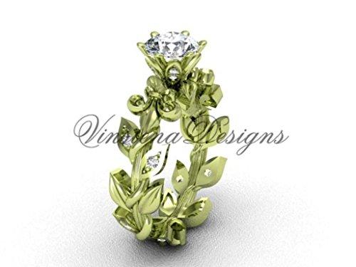 14k yellow gold diamond leaf and vine, Fleur de Lis engagement ring VD208124