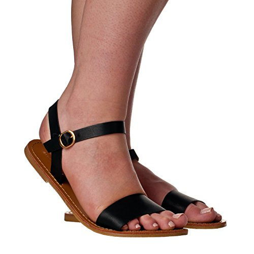 ila Open Toe, Strap Flat Sandals, Black PU, 6 ()