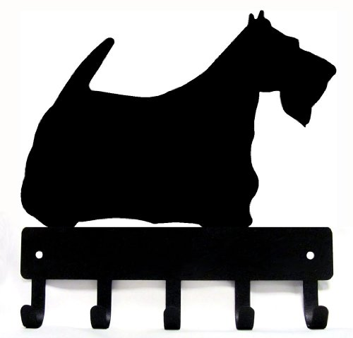 Collars Scottish Terrier (The Metal Peddler Scottish Terrier Key Rack Dog Leash Hanger - Large 9 inch wide)