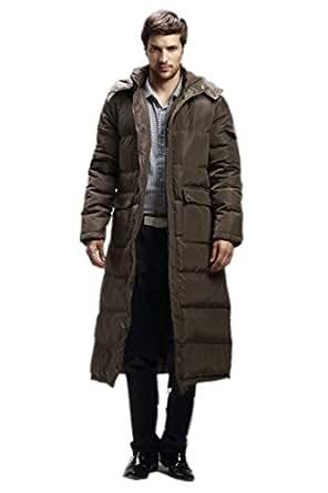 Spikerking Men's down jacket Hooded long Coat(Army coffee
