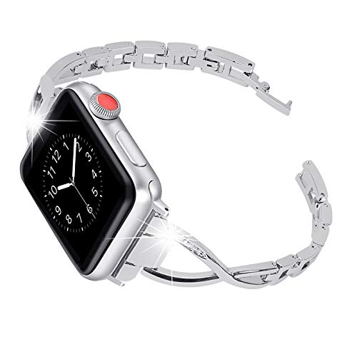 Happiere Compatible Apple Watch Band 42mm Series 3 Series 2 Series 1 Stainless Steel Bracelet iwatch Bands for Women - Designer Diamond Rhinestone Replacement Wristband Strap for Apple Watch - Silver