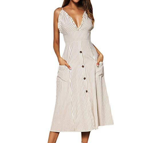 Emimarol Women Dress Summer Bohemian Spaghetti Strap Dress Sling Ruffle V-Neck Button Dress Swing Midi Dress with Pocket Khaki