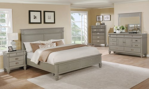 Roundhill Furniture B204KDMN York 204 Solid Wood Construction Bedroom Set with King Size Bed, Dresser, Mirror and Night Stand (Set Solid Pine Headboard)